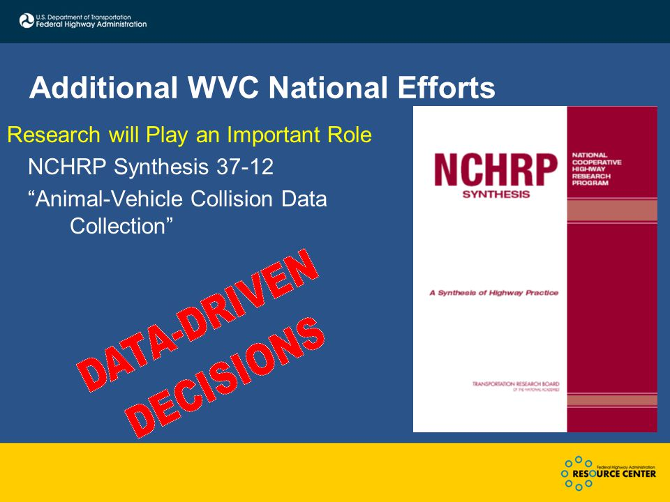 Additional WVC National Efforts Research will Play an Important Role NCHRP Synthesis 37-12 Animal-Vehicle Collision Data Collection