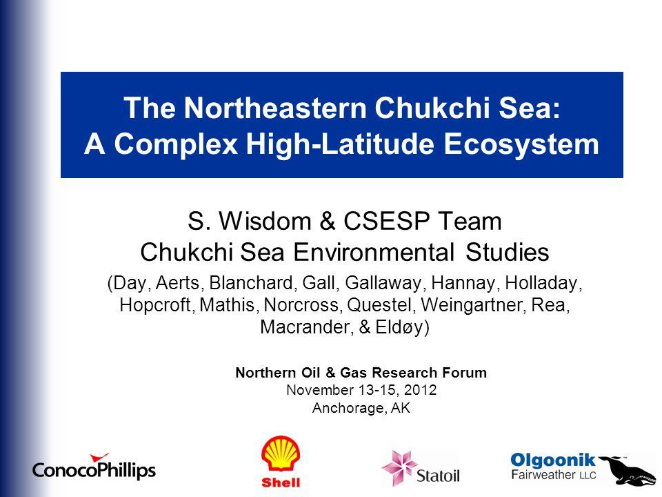 The Northeastern Chukchi Sea: A Complex High-Latitude Ecosystem S.