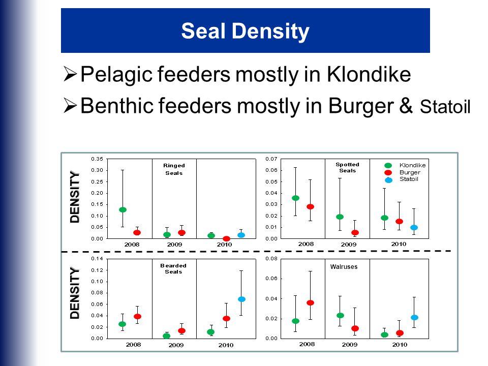 Seal Density  Pelagic feeders mostly in Klondike  Benthic feeders mostly in Burger & Statoil DENSITY DENSITY Walruses