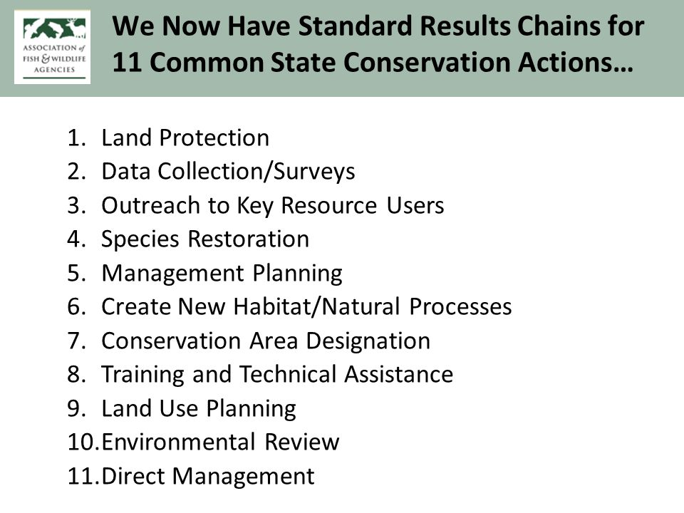 and for 8 Actions in Central Africa 1.Protected Area Management: Patrols 2.Training & Capacity Building 3.Partner Engagement General 4.Wildlife Law Compliance & Enforcement 5.Protected Area Mngmt: Designation & Gazettement 6.Public Campaigns to Change Values & Behavior 7.Surveys & Monitoring of Target & Threats Status 8.Best Practice Guidelines for Extractive Industry