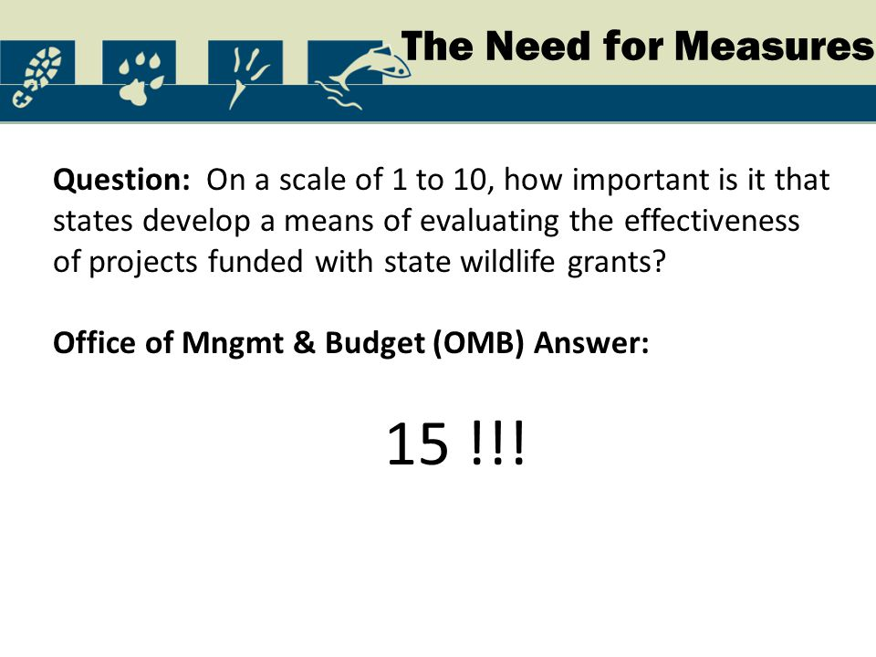 The Need for Measures Question: On a scale of 1 to 10, how important is it that states develop a means of evaluating the effectiveness of projects fun