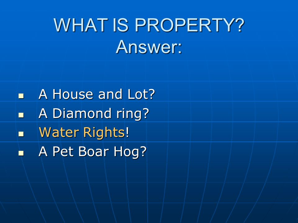 WHAT IS PROPERTY. Answer: A House and Lot. A House and Lot.