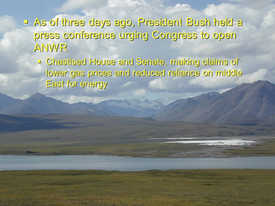  As of three days ago, President Bush held a press conference urging Congress to open ANWR  Chastised House and Senate, making claims of lower gas p