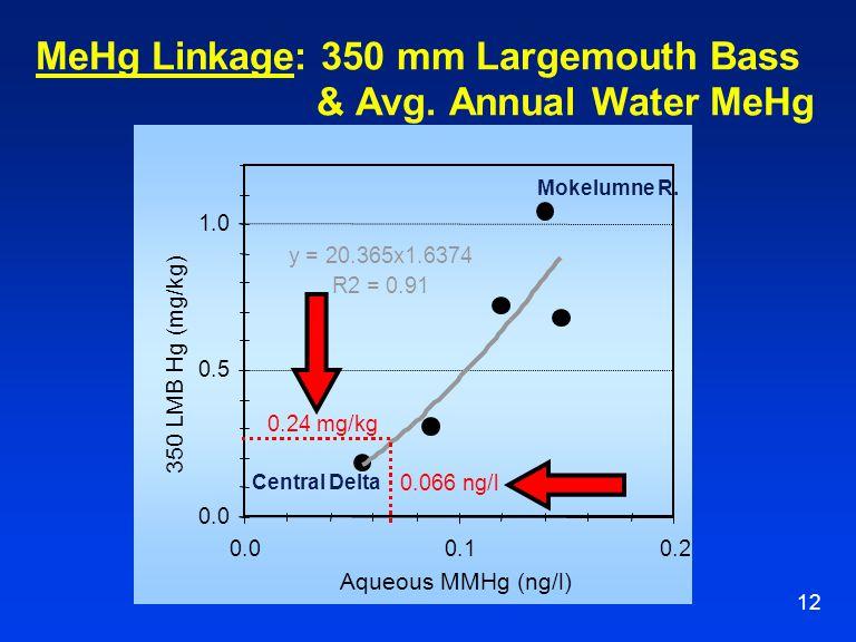 12 MeHg Linkage: 350 mm Largemouth Bass & Avg.