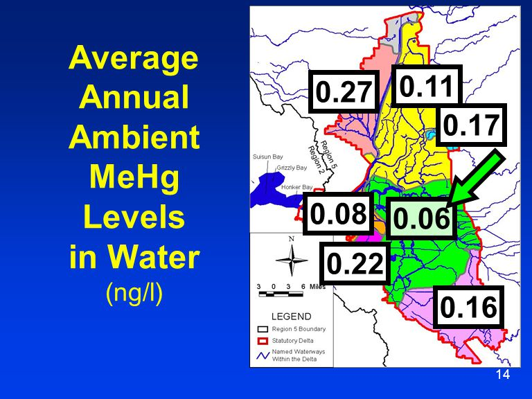 14 Average Annual Ambient MeHg Levels in Water (ng/l) 0.06 0.27 0.16 0.11 0.17 0.08 0.22