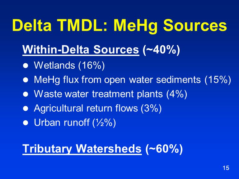 15 Delta TMDL: MeHg Sources Within-Delta Sources (~40%) Wetlands (16%) MeHg flux from open water sediments (15%) Waste water treatment plants (4%) Agr