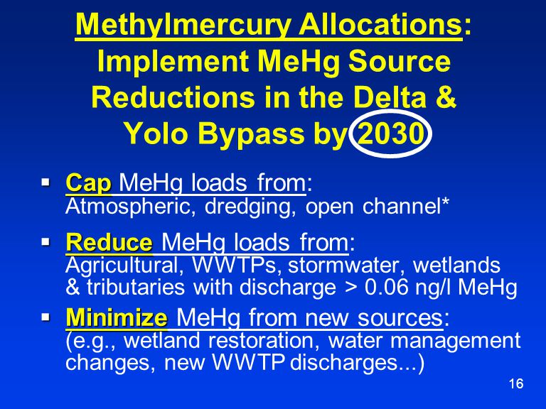 16 Methylmercury Allocations: Implement MeHg Source Reductions in the Delta & Yolo Bypass by 2030  Cap  Cap MeHg loads from: Atmospheric, dredging,