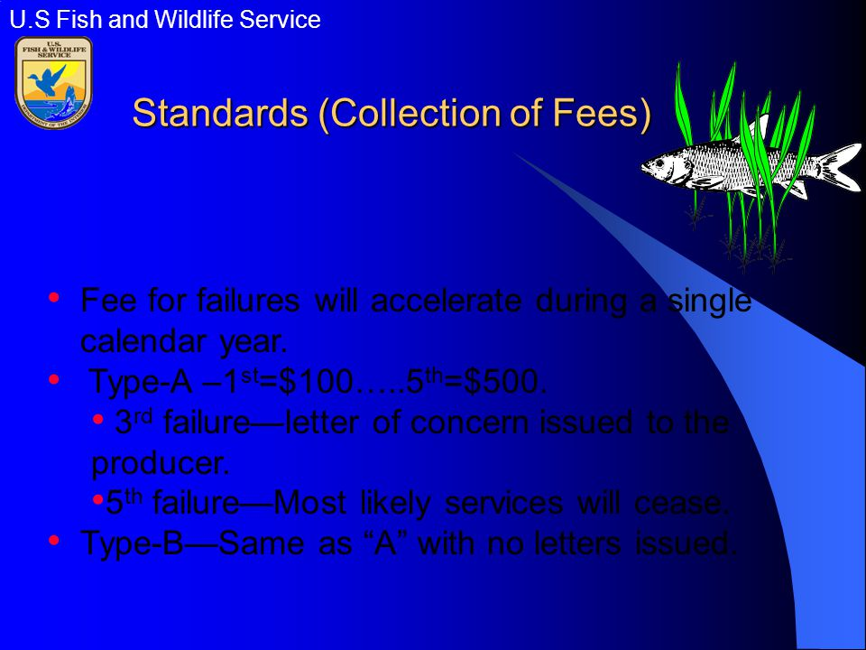 Standards (Collection of Fees) Fee for failures will accelerate during a single calendar year.