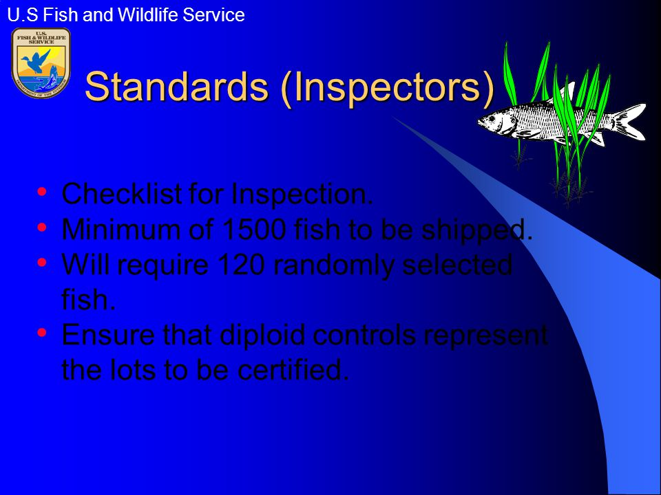 Standards (Inspectors) Checklist for Inspection. Minimum of 1500 fish to be shipped.
