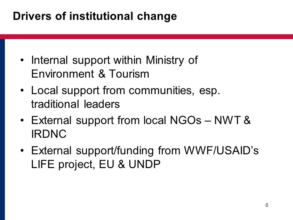 Drivers of institutional change Internal support within Ministry of Environment & Tourism Local support from communities, esp. traditional leaders Ext