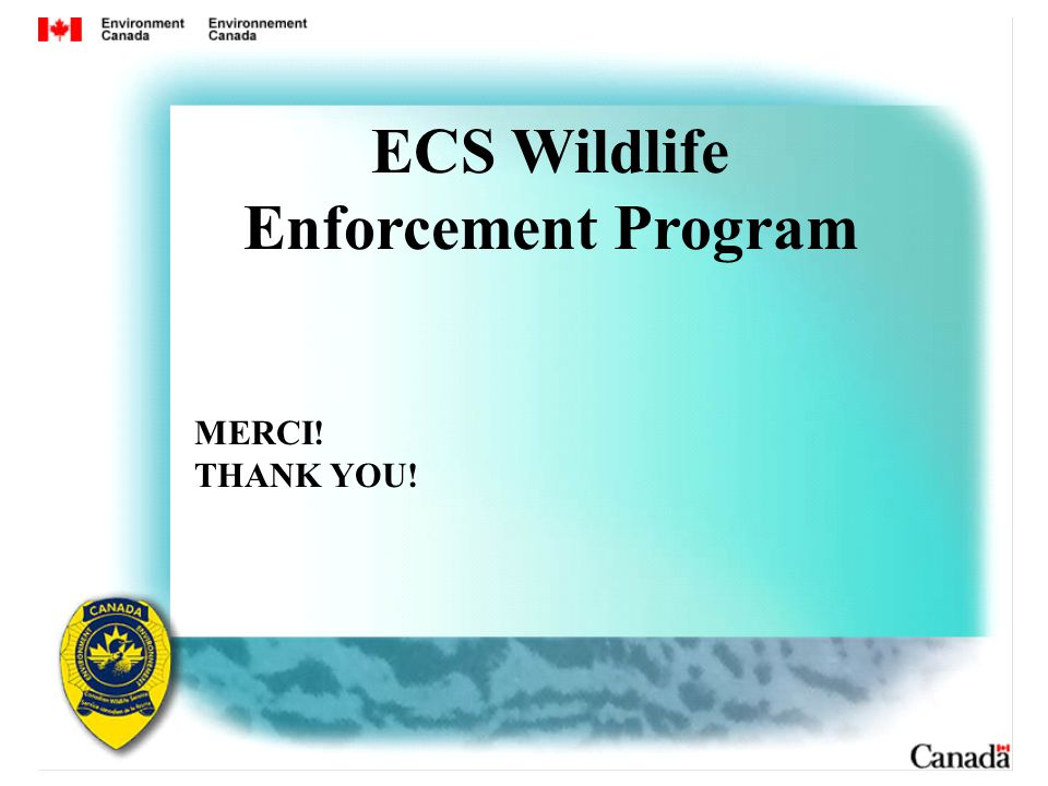 ECS Wildlife Enforcement Program MERCI! THANK YOU!