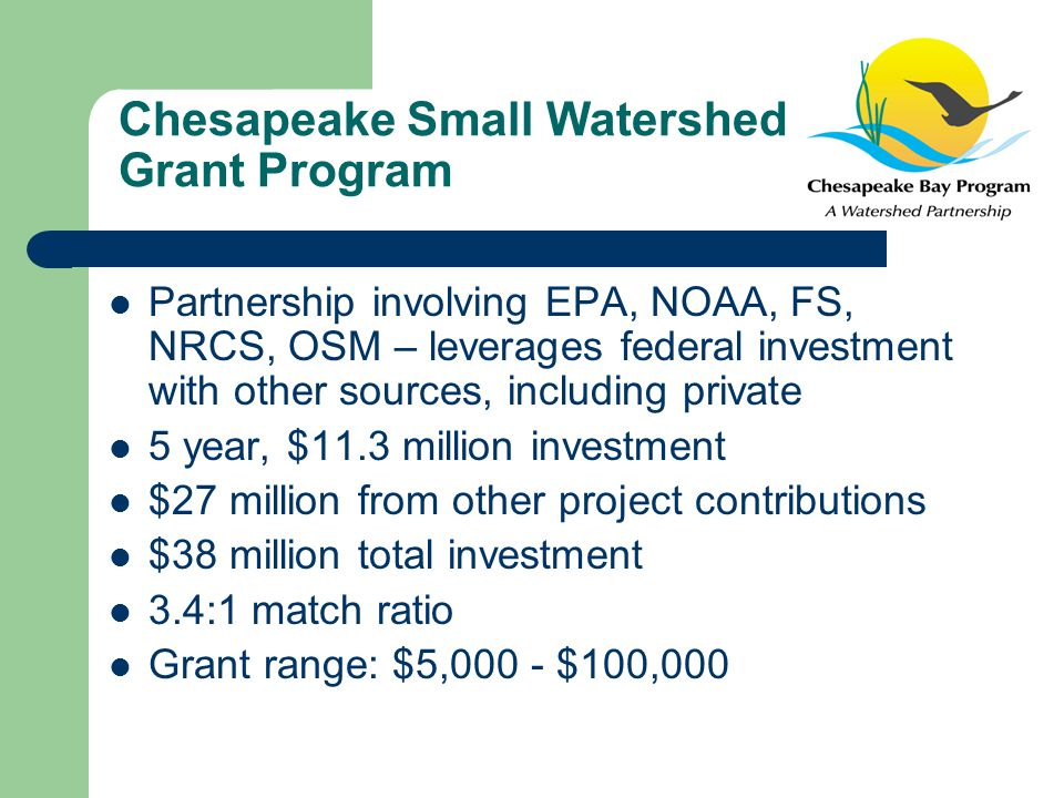 Chesapeake Small Watershed Grant Program Partnership involving EPA, NOAA, FS, NRCS, OSM – leverages federal investment with other sources, including private 5 year, $11.3 million investment $27 million from other project contributions $38 million total investment 3.4:1 match ratio Grant range: $5,000 - $100,000