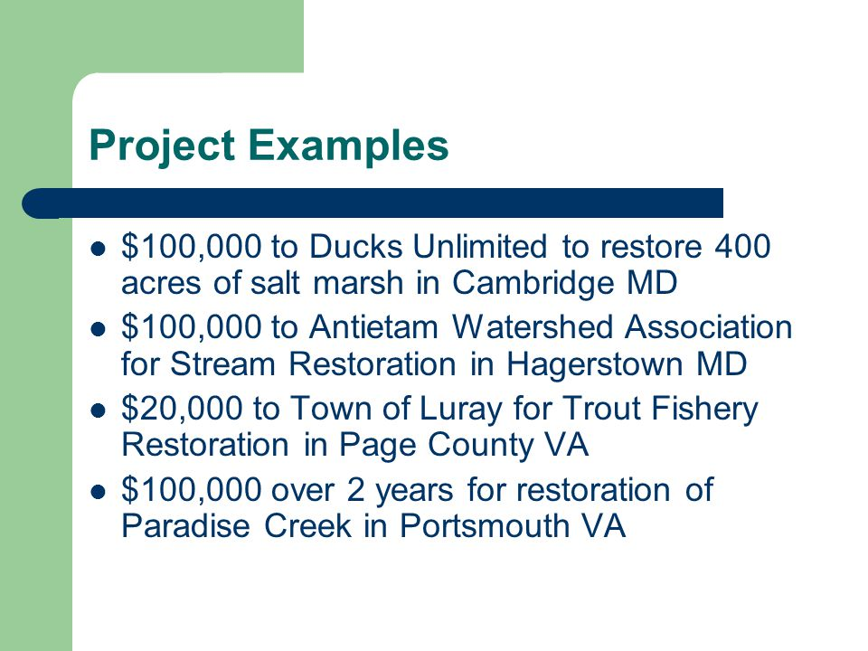 Project Examples $100,000 to Ducks Unlimited to restore 400 acres of salt marsh in Cambridge MD $100,000 to Antietam Watershed Association for Stream Restoration in Hagerstown MD $20,000 to Town of Luray for Trout Fishery Restoration in Page County VA $100,000 over 2 years for restoration of Paradise Creek in Portsmouth VA