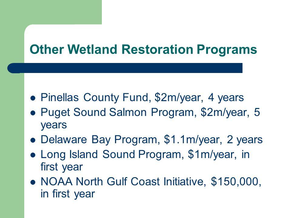Other Wetland Restoration Programs Pinellas County Fund, $2m/year, 4 years Puget Sound Salmon Program, $2m/year, 5 years Delaware Bay Program, $1.1m/y