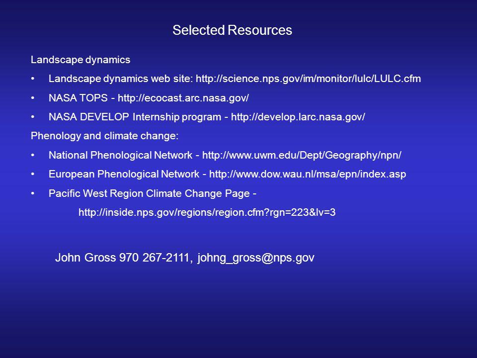 Selected Resources Landscape dynamics Landscape dynamics web site: http://science.nps.gov/im/monitor/lulc/LULC.cfm NASA TOPS - http://ecocast.arc.nasa