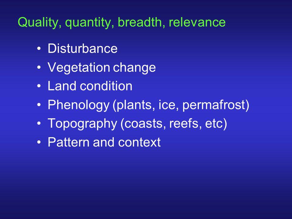 Quality, quantity, breadth, relevance Disturbance Vegetation change Land condition Phenology (plants, ice, permafrost) Topography (coasts, reefs, etc)