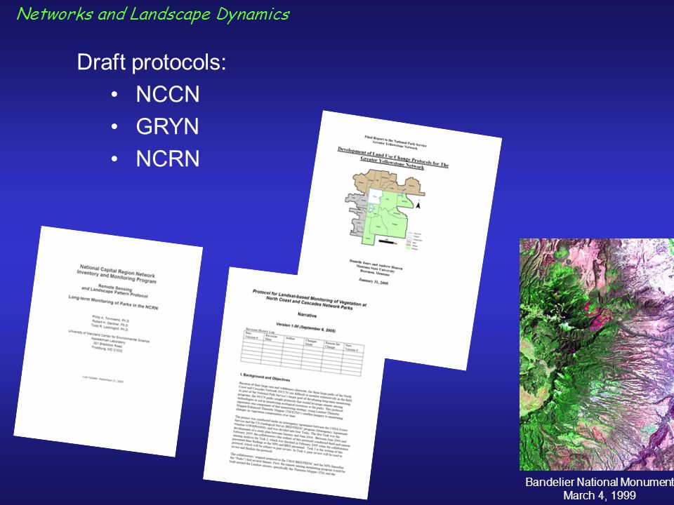 Draft protocols: NCCN GRYN NCRN Bandelier National Monument March 4, 1999 Networks and Landscape Dynamics