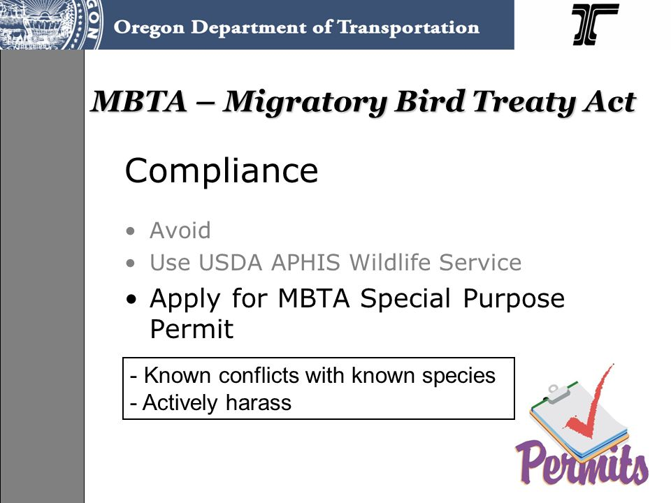 MBTA – Migratory Bird Treaty Act Compliance Avoid Use USDA APHIS Wildlife Service Apply for MBTA Special Purpose Permit - Known conflicts with known species - Actively harass