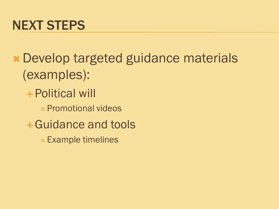 NEXT STEPS  Develop targeted guidance materials (examples):  Political will  Promotional videos  Guidance and tools  Example timelines
