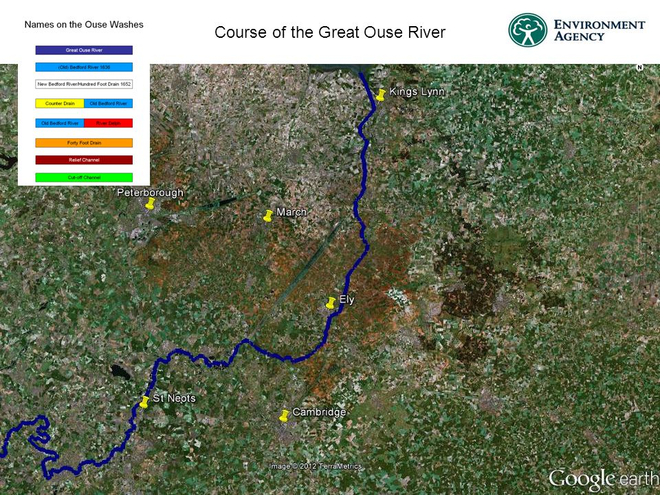 Course of the Great Ouse River