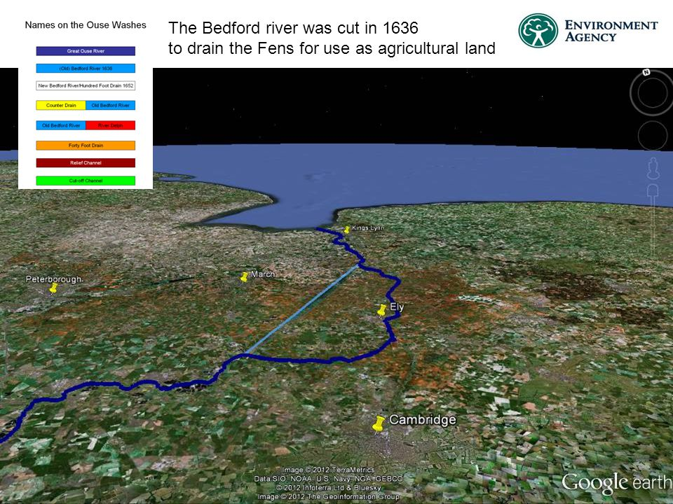 The Bedford river was cut in 1636 to drain the Fens for use as agricultural land
