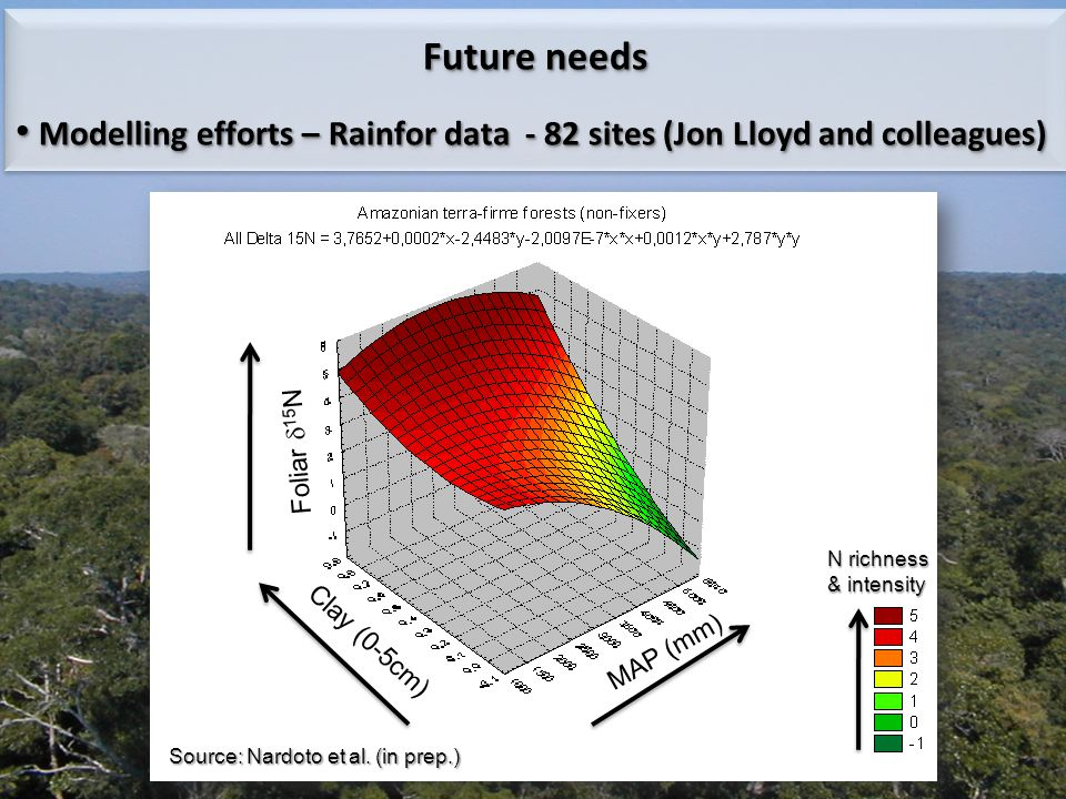 Future needs Modelling efforts – Rainfor data - 82 sites (Jon Lloyd and colleagues) Modelling efforts – Rainfor data - 82 sites (Jon Lloyd and colleag