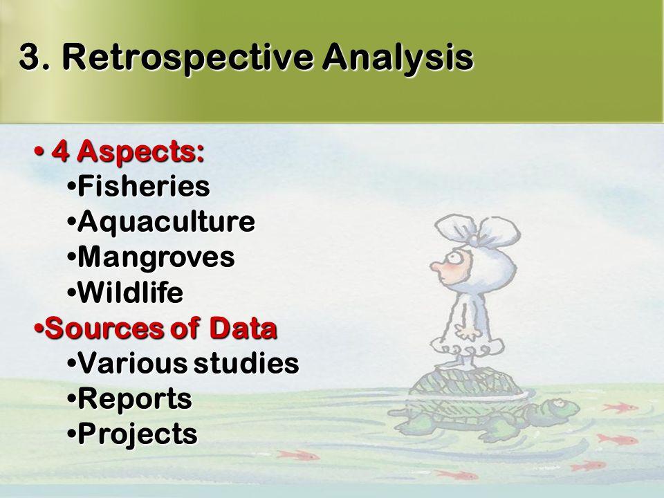 12 3. Retrospective Analysis 4 Aspects: 4 Aspects: FisheriesFisheries AquacultureAquaculture MangrovesMangroves WildlifeWildlife Sources of DataSource