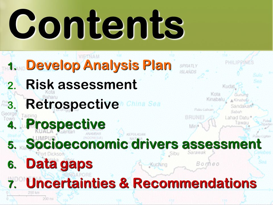 2 Contents 1. Develop Analysis Plan 2. Risk assessment 3.