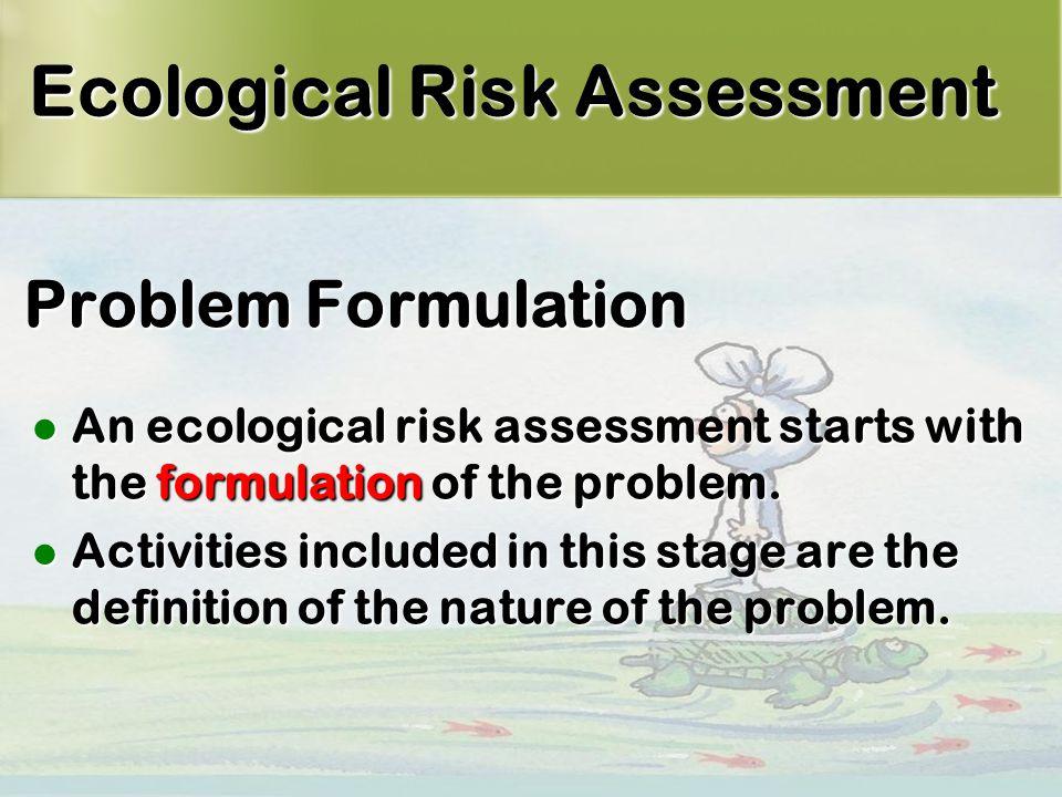 9 Problem Formulation An ecological risk assessment starts with the formulation of the problem.
