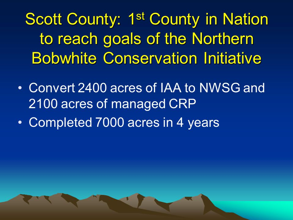 Scott County: 1 st County in Nation to reach goals of the Northern Bobwhite Conservation Initiative Convert 2400 acres of IAA to NWSG and 2100 acres of managed CRP Completed 7000 acres in 4 years