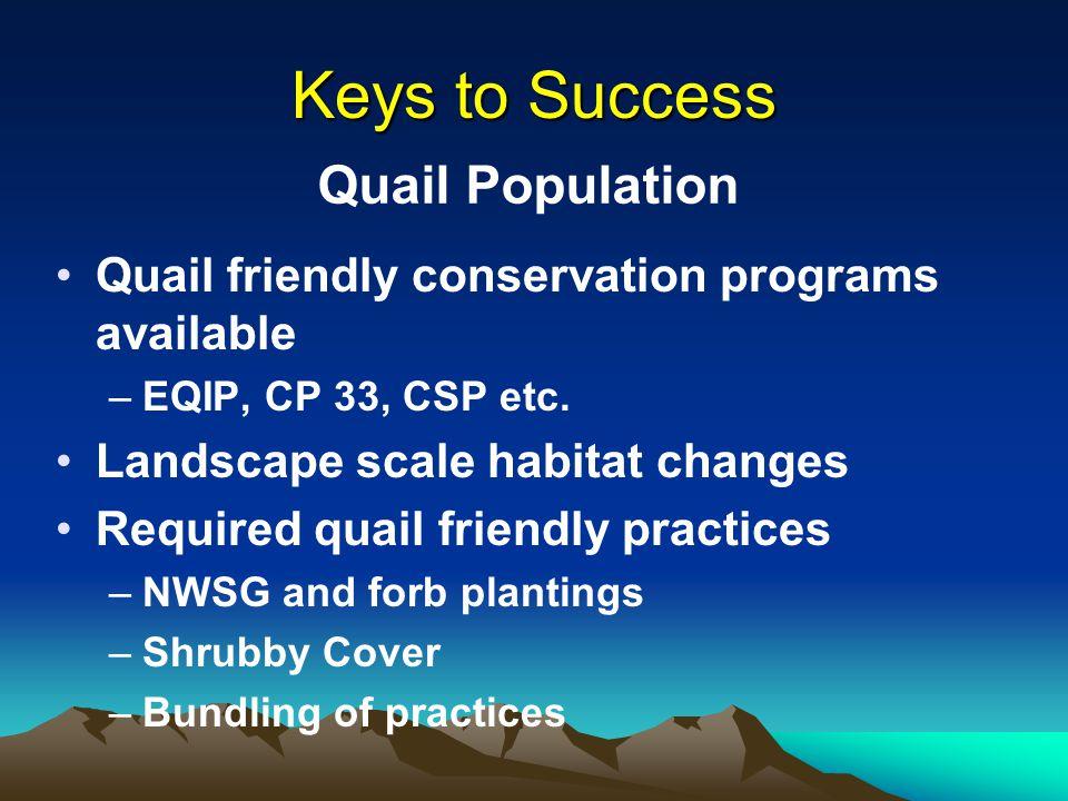 Keys to Success Quail friendly conservation programs available –EQIP, CP 33, CSP etc.