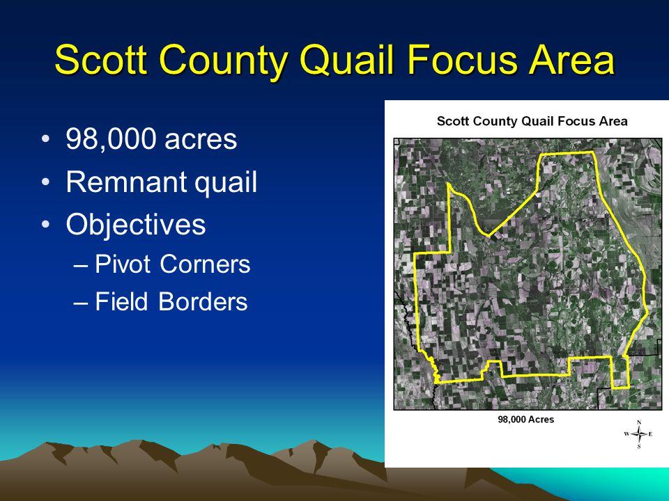 Scott County Quail Focus Area 98,000 acres Remnant quail Objectives –Pivot Corners –Field Borders