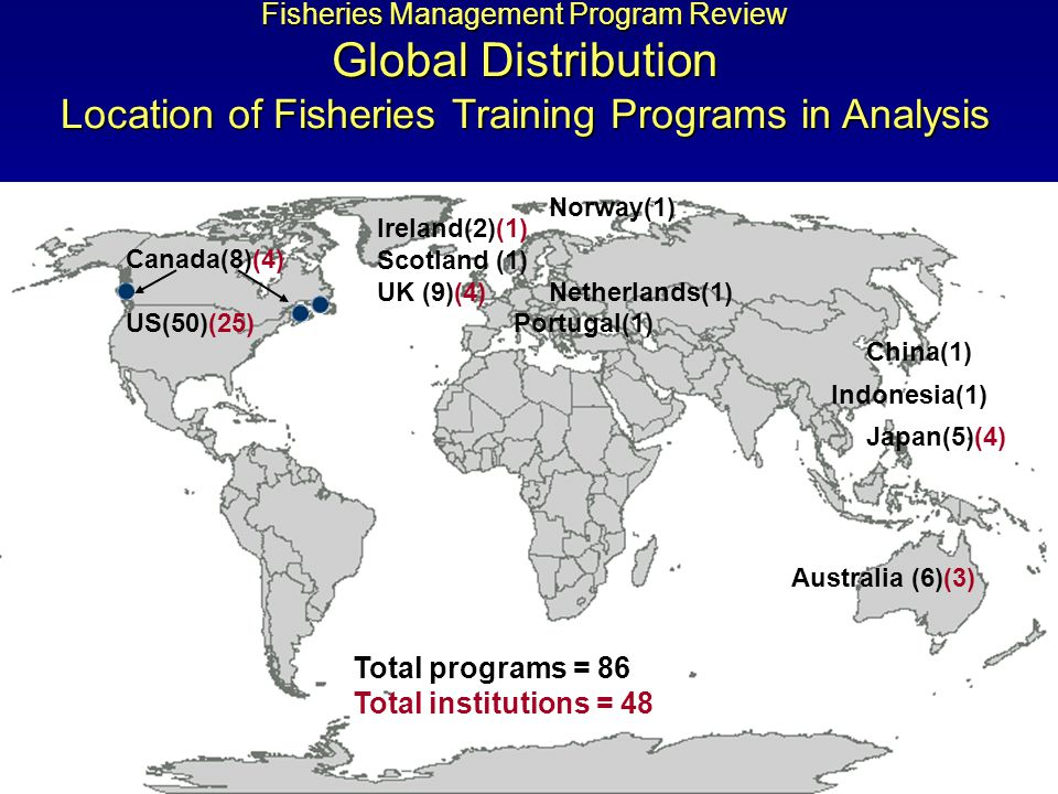 Fisheries Management Program Review Global Distribution Location of Fisheries Training Programs in Analysis Australia (6)(3) China(1) Japan(5)(4) Indonesia(1) Norway(1) Netherlands(1) Portugal(1) Ireland(2)(1) Scotland (1) UK (9)(4) Canada(8)(4) US(50)(25) Total programs = 86 Total institutions = 48