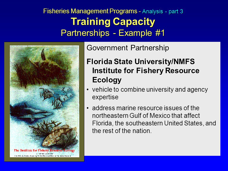 Government Partnership Florida State University/NMFS Institute for Fishery Resource Ecology vehicle to combine university and agency expertise address