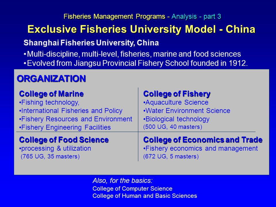 Fisheries Management Programs - Analysis - part 3 Exclusive Fisheries University Model - China Shanghai Fisheries University, China Multi-discipline, multi-level, fisheries, marine and food sciences Evolved from Jiangsu Provincial Fishery School founded in 1912.