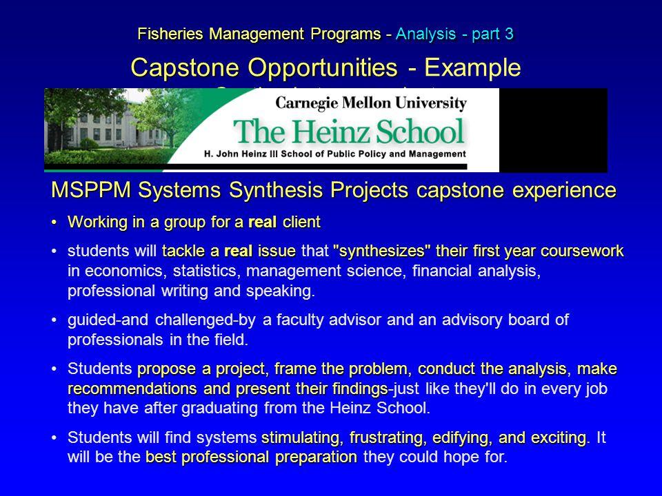 Fisheries Management Programs - Analysis - part 3 Capstone Opportunities Fisheries Management Programs - Analysis - part 3 Capstone Opportunities - Ex