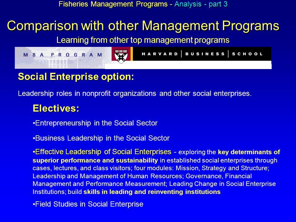 Fisheries Management Programs - Analysis - part 3 Comparison with other Management Programs Fisheries Management Programs - Analysis - part 3 Comparis
