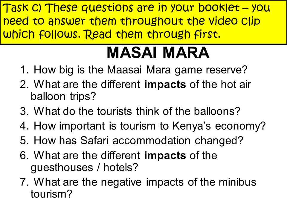 FOCUS : ENVIRONMENTAL IMPACTS OF SAFARI TOURS IN MASAI MARA 1.