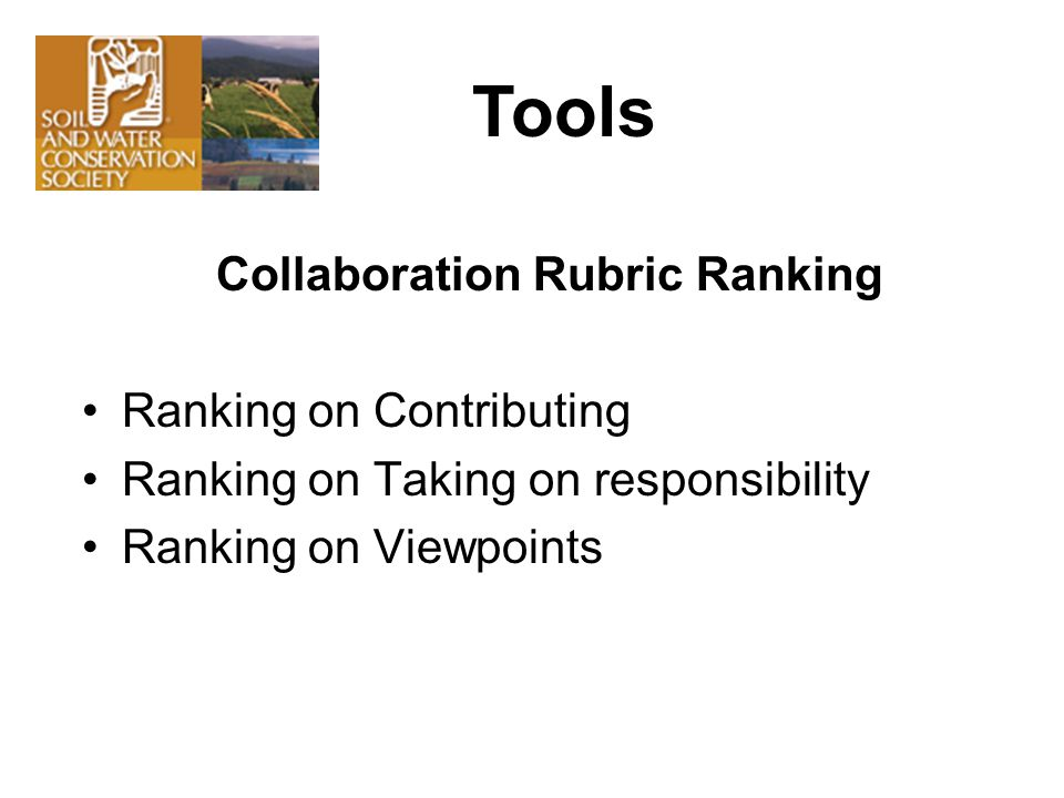 Collaboration Rubric Ranking Ranking on Contributing Ranking on Taking on responsibility Ranking on Viewpoints Tools