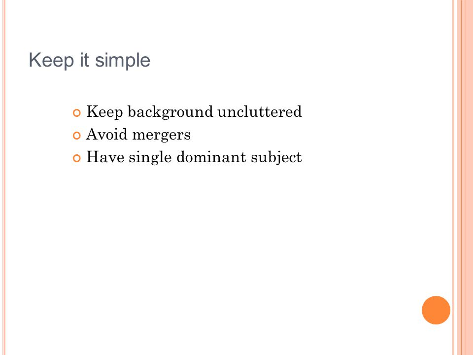 Keep it simple Keep background uncluttered Avoid mergers Have single dominant subject