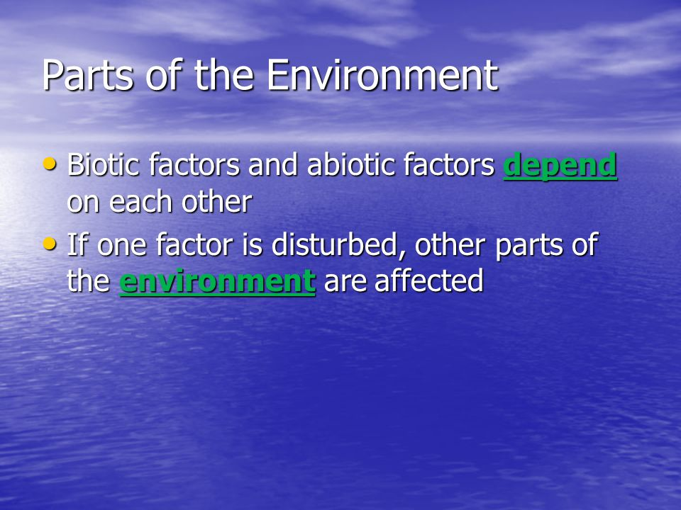 Parts of the Environment Biotic factors and abiotic factors depend on each other Biotic factors and abiotic factors depend on each other If one factor is disturbed, other parts of the environment are affected If one factor is disturbed, other parts of the environment are affected