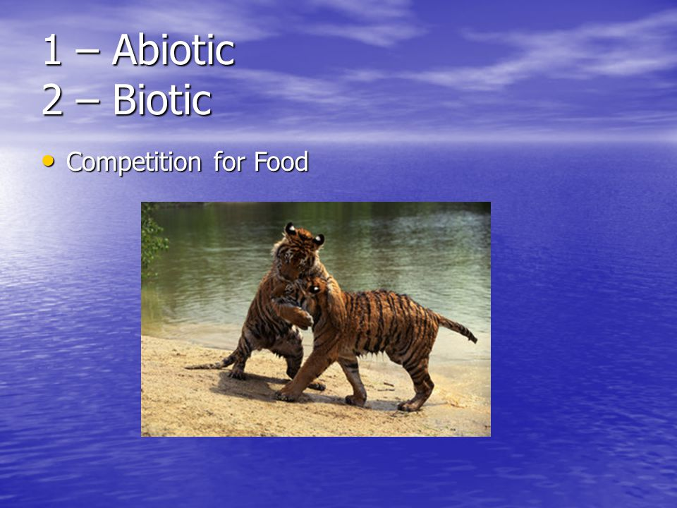1 – Abiotic 2 – Biotic Competition for Food Competition for Food