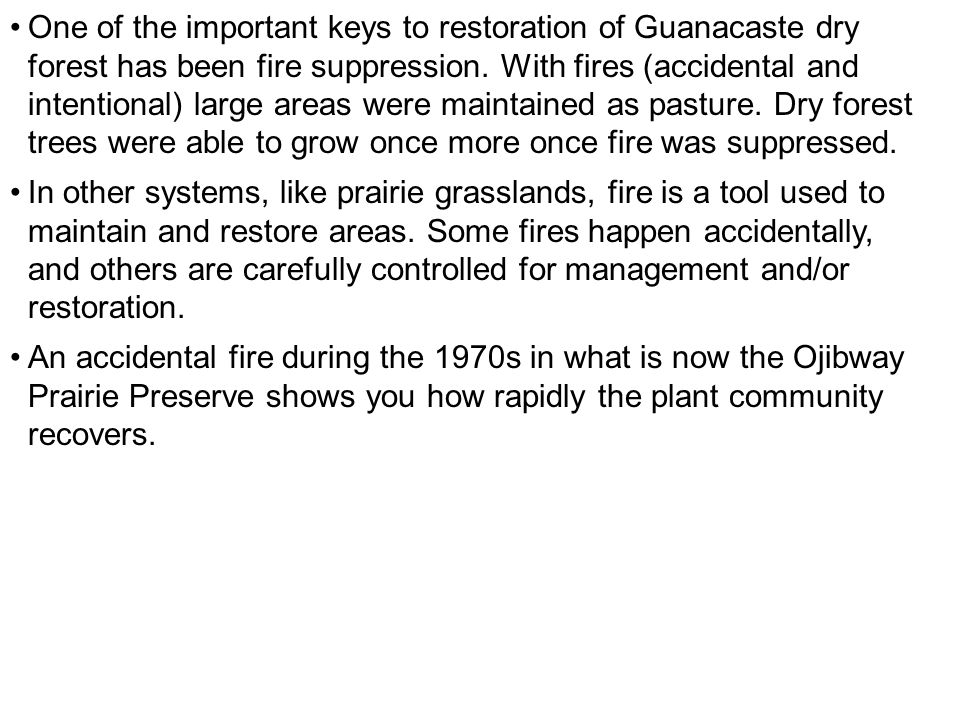 One of the important keys to restoration of Guanacaste dry forest has been fire suppression.
