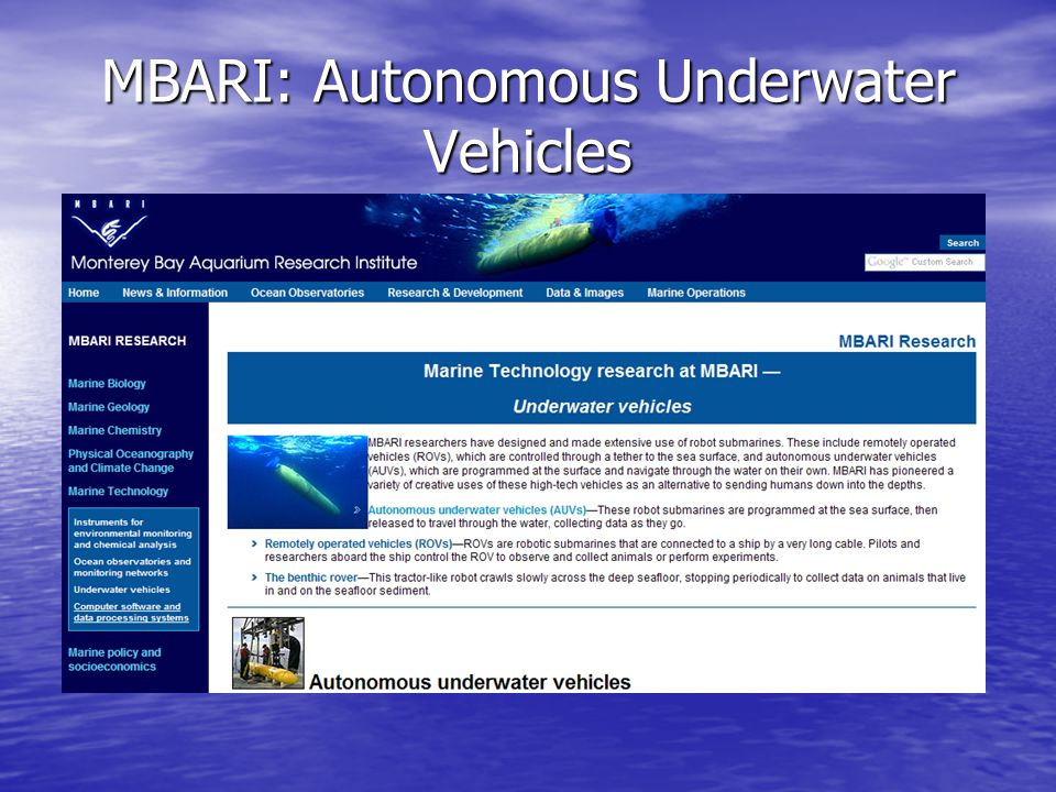 MBARI: Autonomous Underwater Vehicles