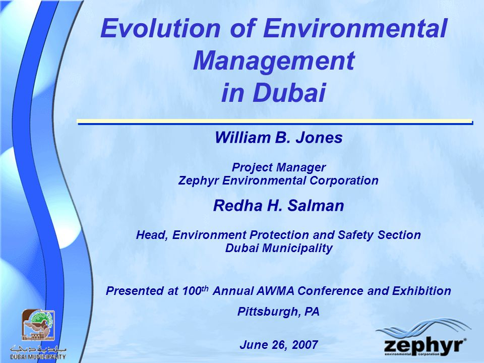 Evolution of Environmental Management in Dubai William B.