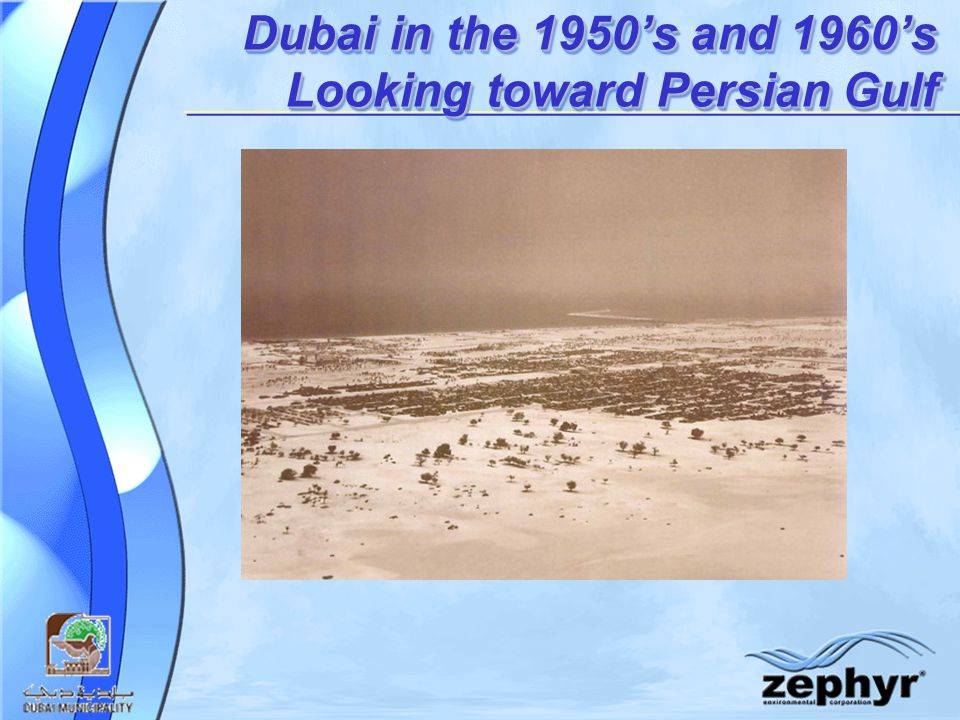 Dubai in the 1950's and 1960's Looking toward Persian Gulf