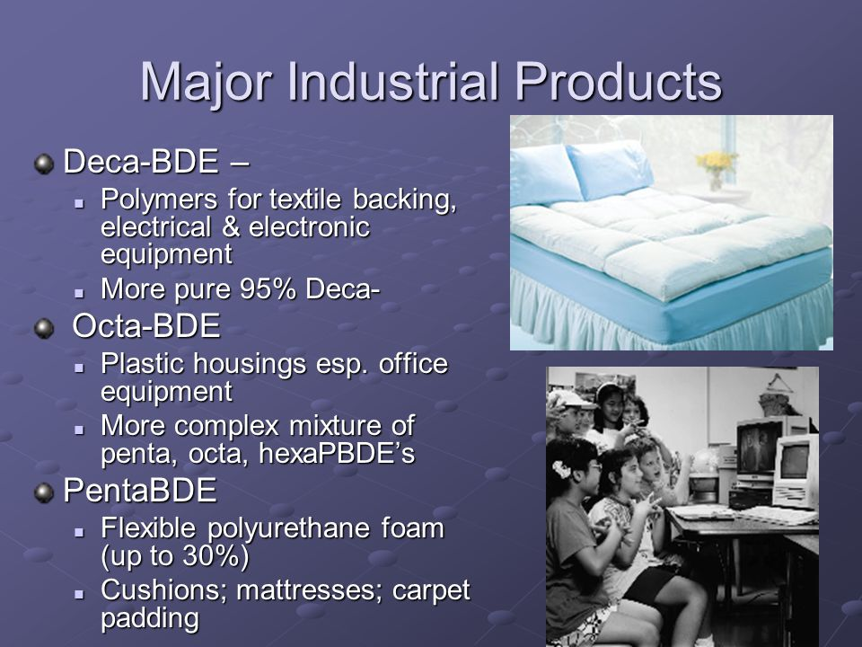 Major Industrial Products Deca-BDE – Polymers for textile backing, electrical & electronic equipment Polymers for textile backing, electrical & electronic equipment More pure 95% Deca- More pure 95% Deca- Octa-BDE Octa-BDE Plastic housings esp.