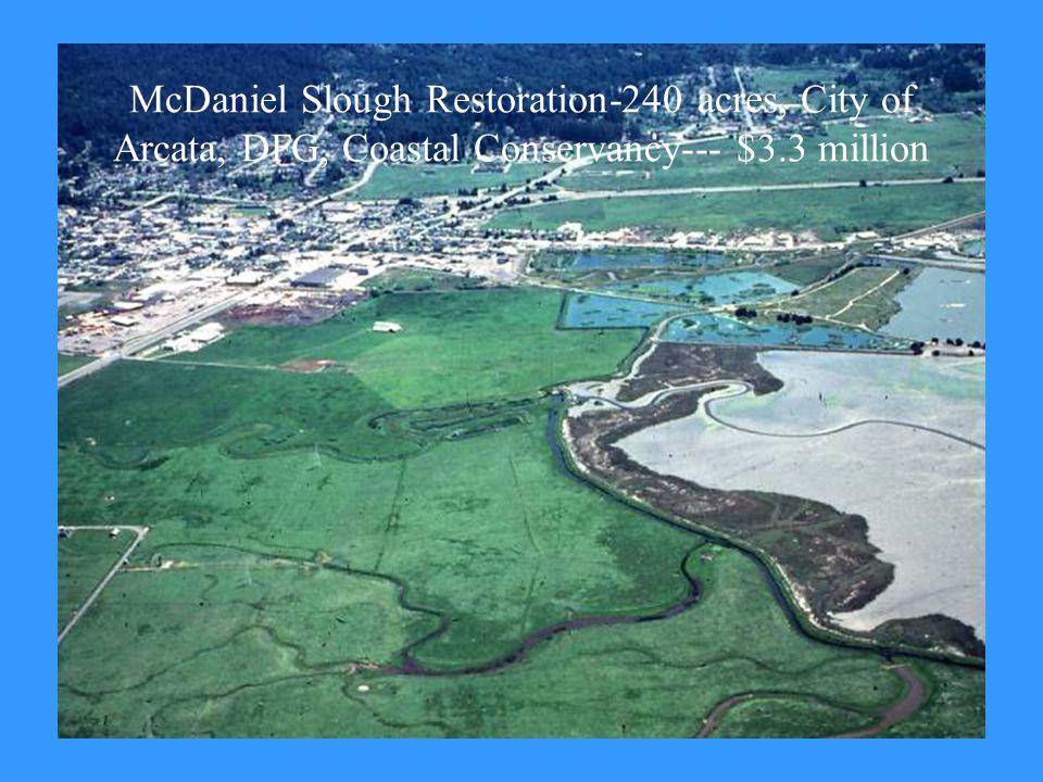 McDaniel Slough Restoration-240 acres, City of Arcata, DFG, Coastal Conservancy--- $3.3 million