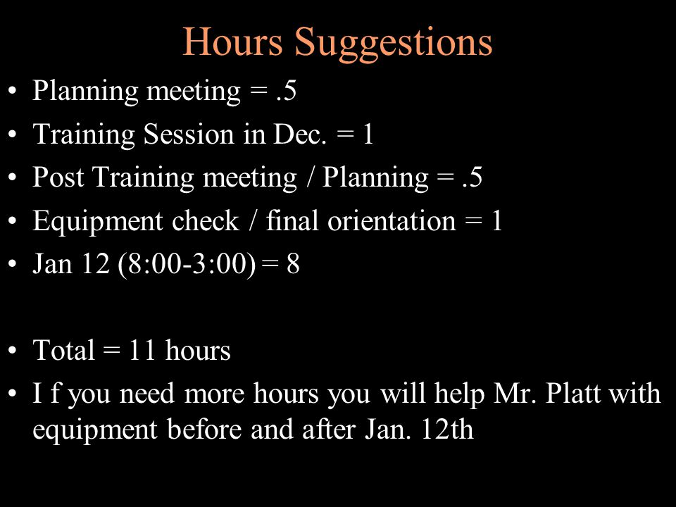 Hours Suggestions Planning meeting =.5 Training Session in Dec.