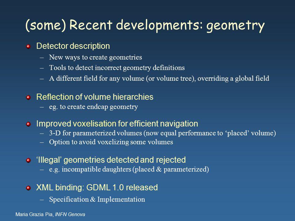 Maria Grazia Pia, INFN Genova (some) Recent developments: geometry Detector description –New ways to create geometries –Tools to detect incorrect geom